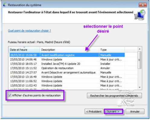 windows 10 gestionnaire de restauration