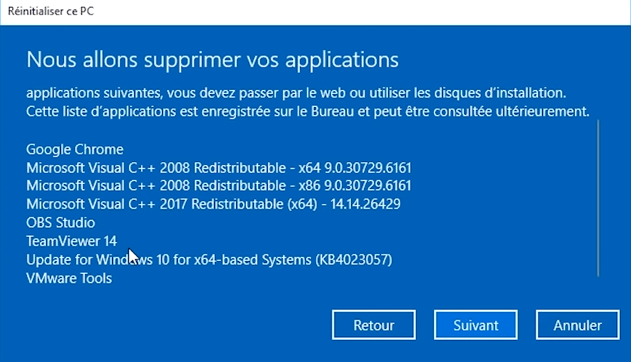 Fenêtre conserver mes fichiers pour initialiser Windows 10