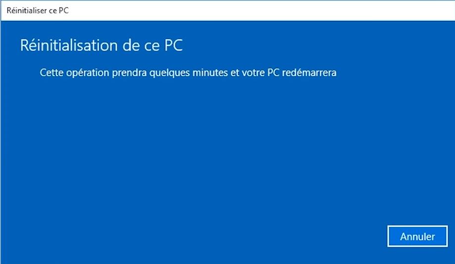 Fenêtre de réinitialisation de Windows 10