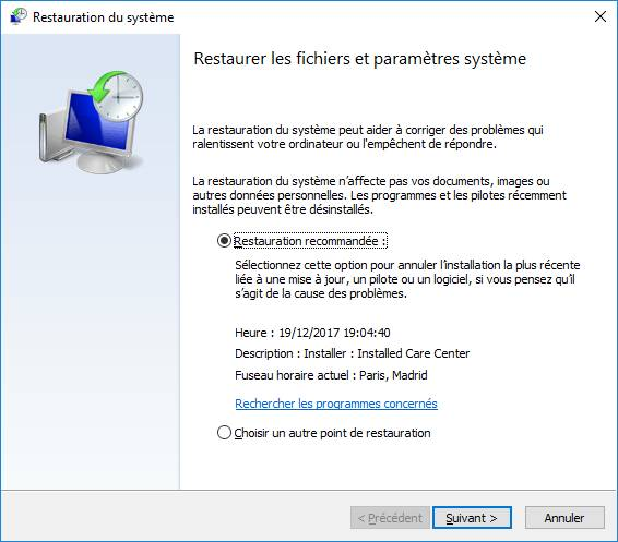 Fenêtre de restauration de Windows 10