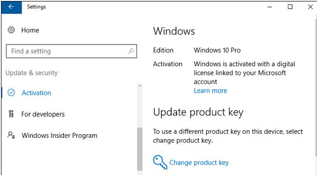 Fenêtre des licence de Windows 10