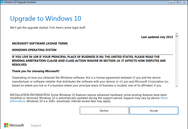 Accepter la licence Windows 10