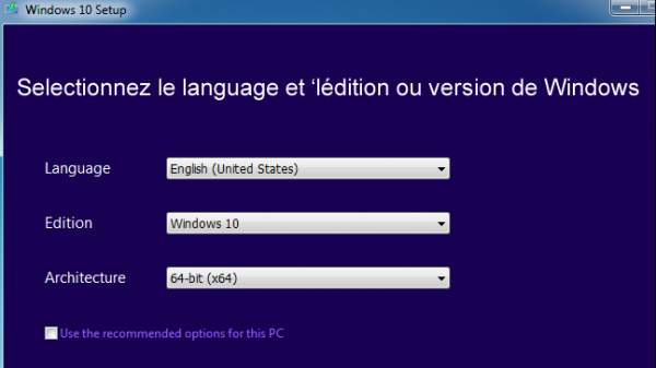 Choisir la langue de Windows 10