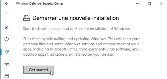 Démarrer une nouvelle installation de Windows 10