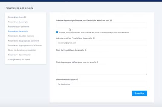 Mettre les paramètres du mail dans systeme.io