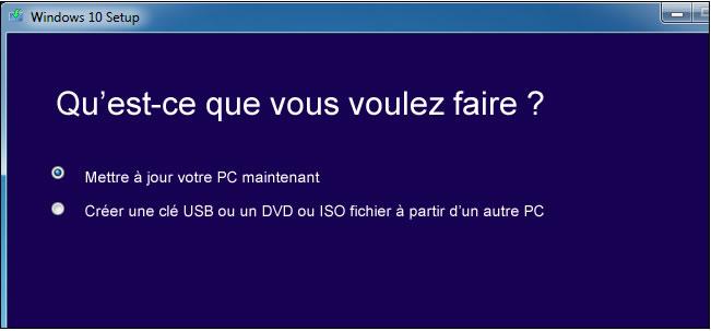 Fenêtre de création de clé USB de Windows 10
