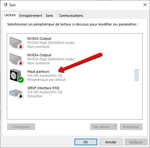 Vérifier dans Windows 10 les paramètres par défaut