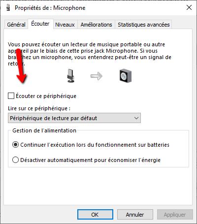 Option d'écoute dans les paramètres avancés du micro de Windows 10