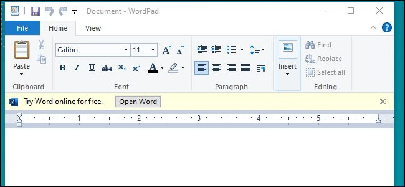 Nouveau Microsoft propose des publicités sur l'application wordPad de Windows 10?