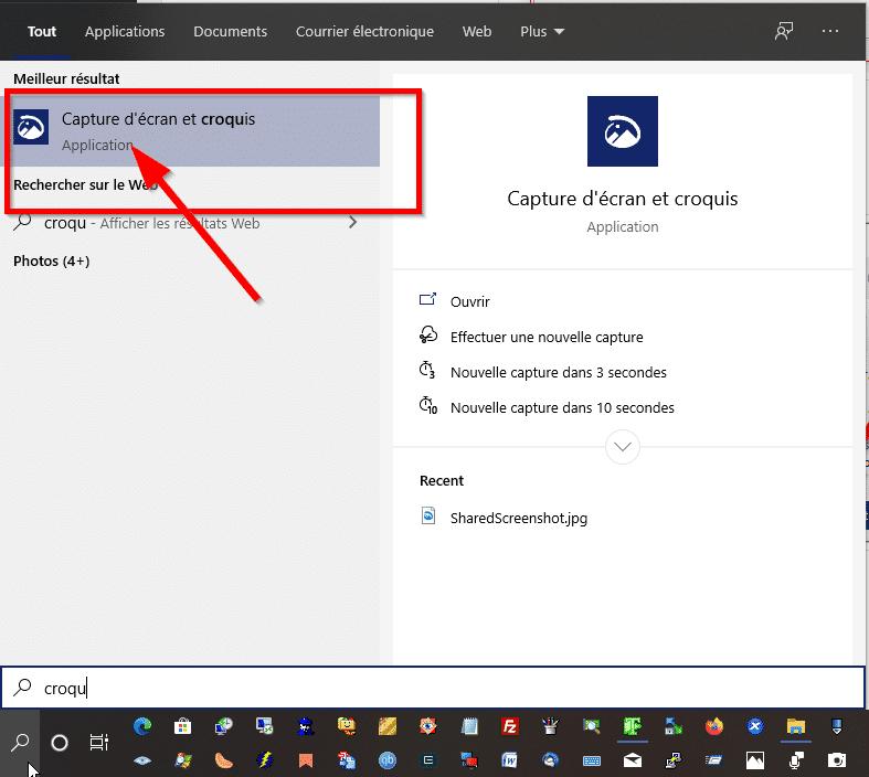 Outil de croquis de Windows 10
