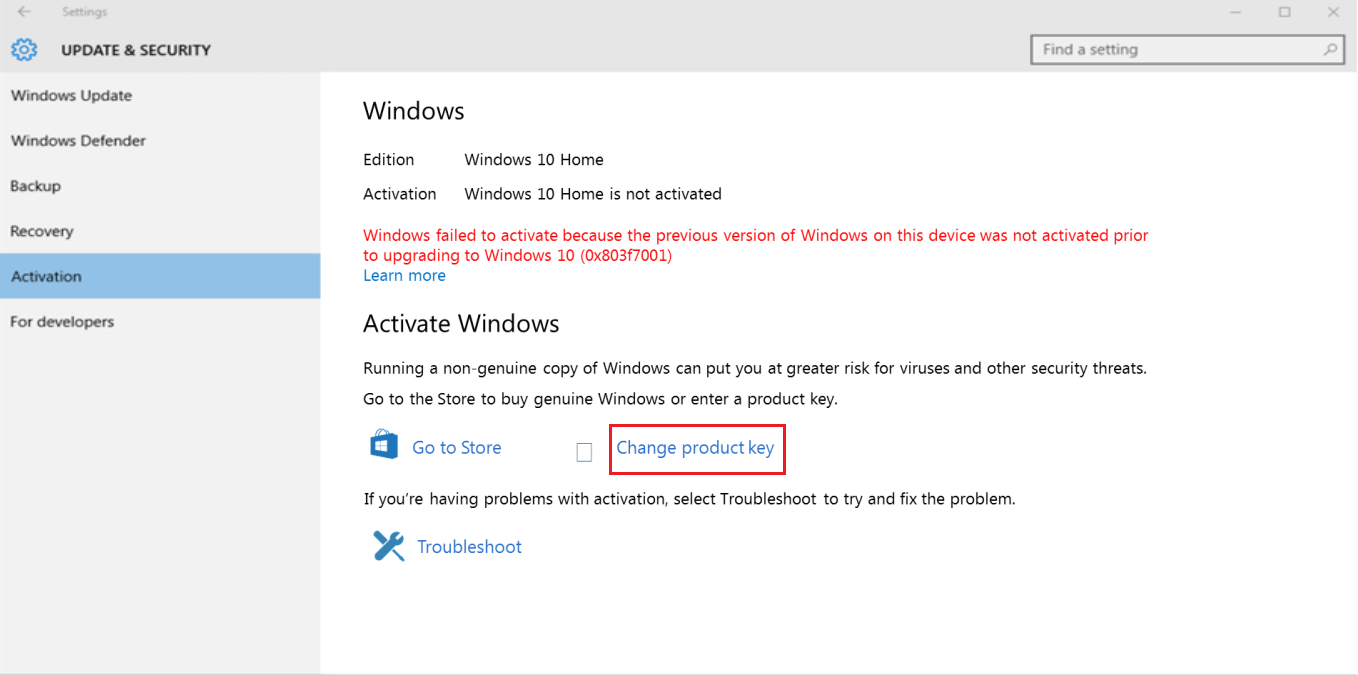 Fenêtre d'activation de Windows 10