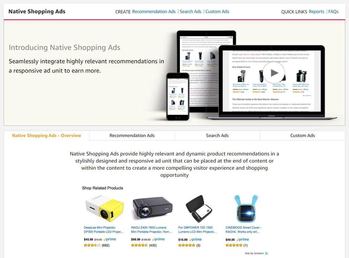Achats d'annonces natives sur Amazon