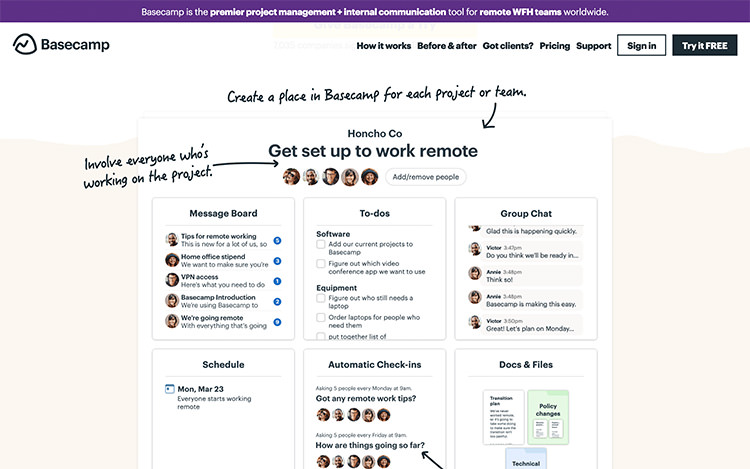 Application de chat pour la collaboration de l'équipe Basecamp