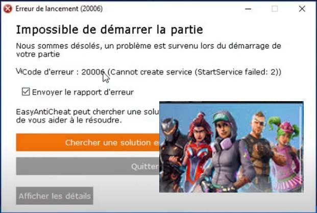 Fortnite – Code d'erreur 1058/20006 (Erreur lors du chargement de Fortnite)