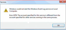 Erreur Windows 1079 Problème résolu