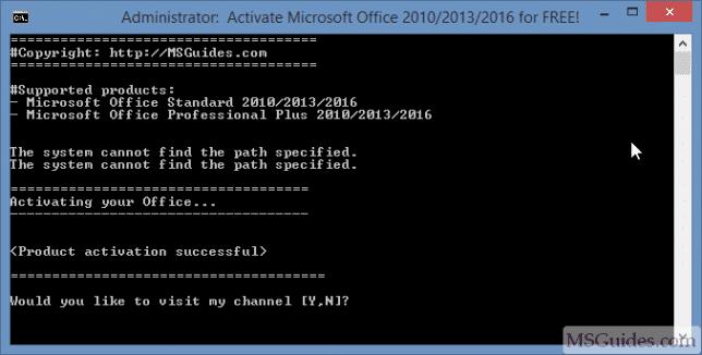 Activation réussie du produit Office 2016