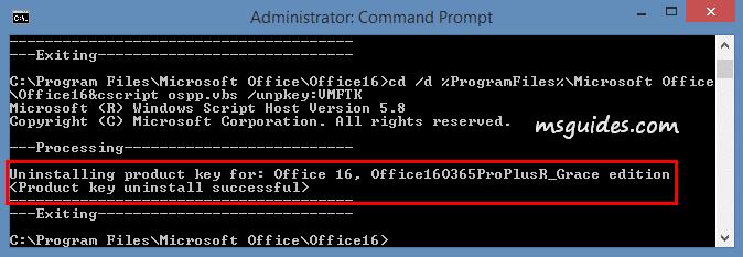 La clé de produit Office a été désinstallée avec succès