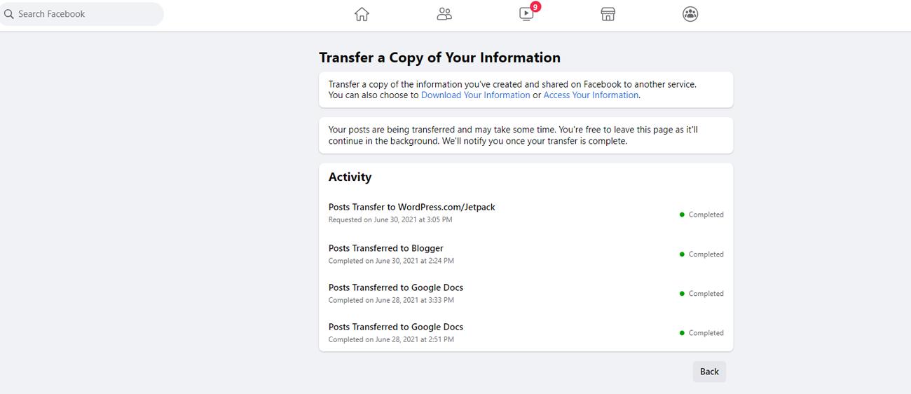 confirmation de transfert