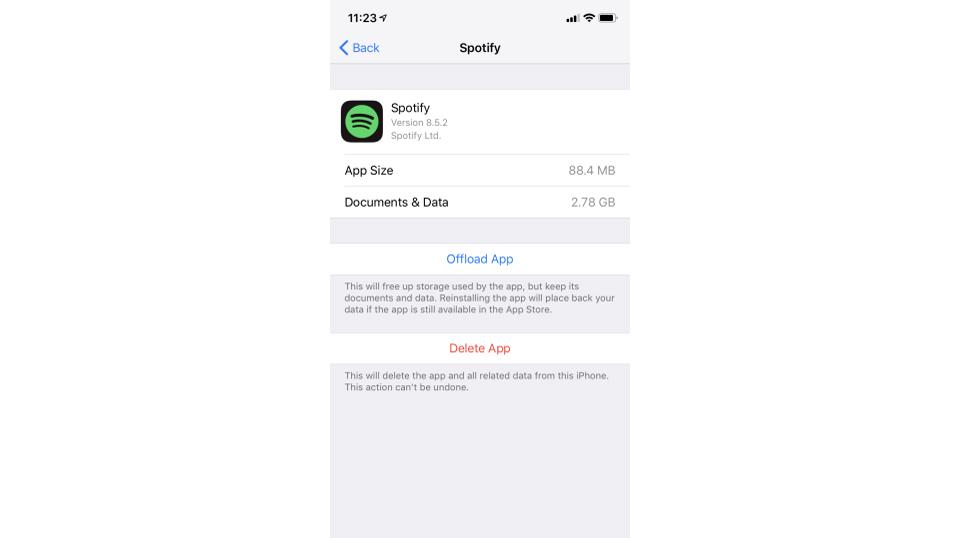 Écran Paramètres Spotify