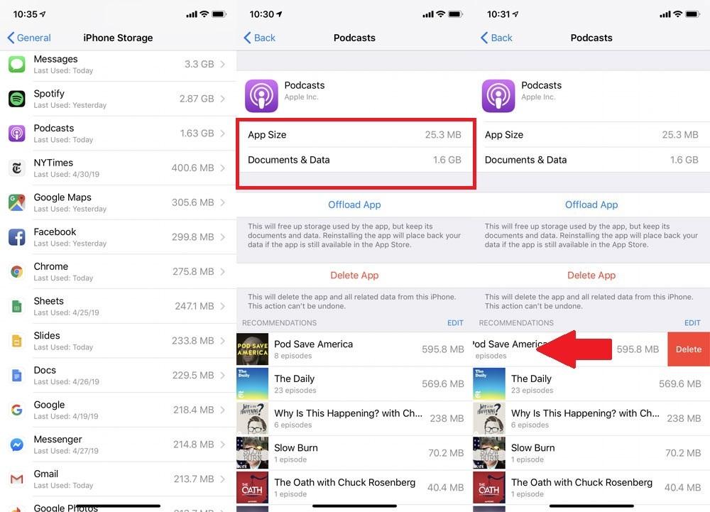 Écran des paramètres de l'iPhone avec la taille de l'application