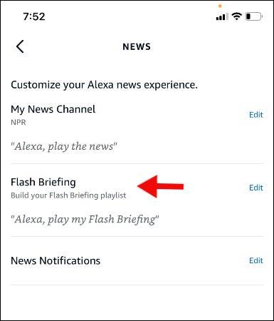 appuyez sur modifier à côté du briefing flash