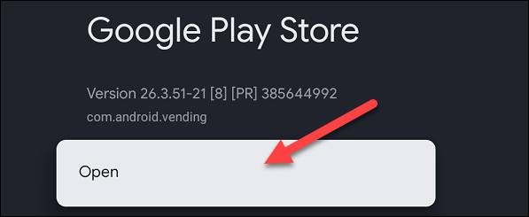 """Maintenant, sélectionnez """"Ouvert"""" et le Play Store complet sera lancé."""