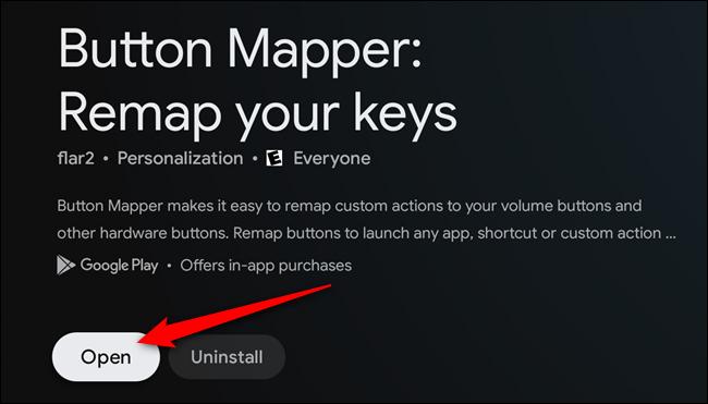 """Sélectionnez le """"Ouvert"""" une fois l'application Button Mapper installée"""