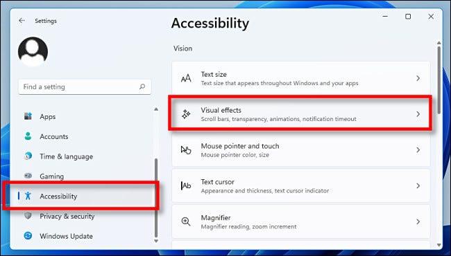 """Dans Paramètres, cliquez sur """"Accessibilité,"""" ensuite """"Effets visuels."""""""
