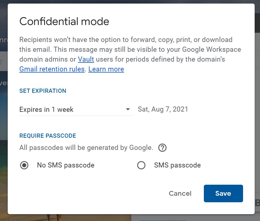 boîte contextuelle du mode confidentiel