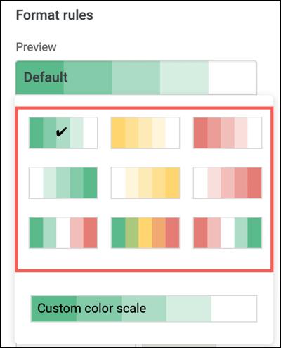 Choisissez une échelle de couleurs prédéfinie