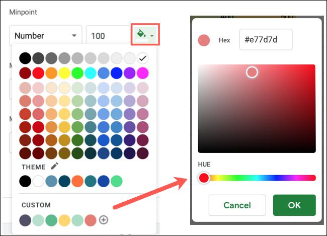 Choisissez une couleur ou créez une couleur personnalisée
