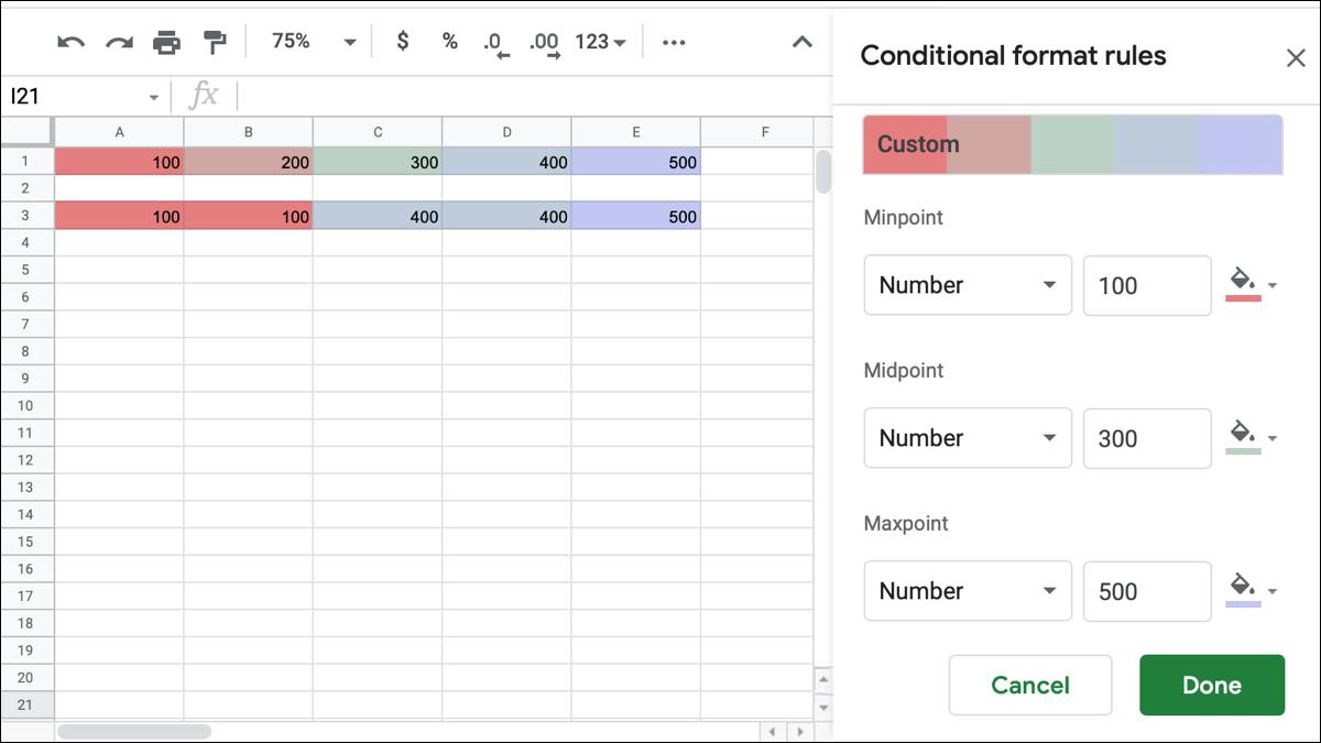 Mise en forme conditionnelle de l'échelle de couleurs dans Google Sheets