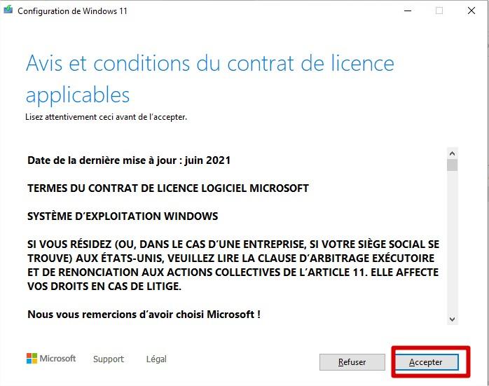 Contrat Windows 11