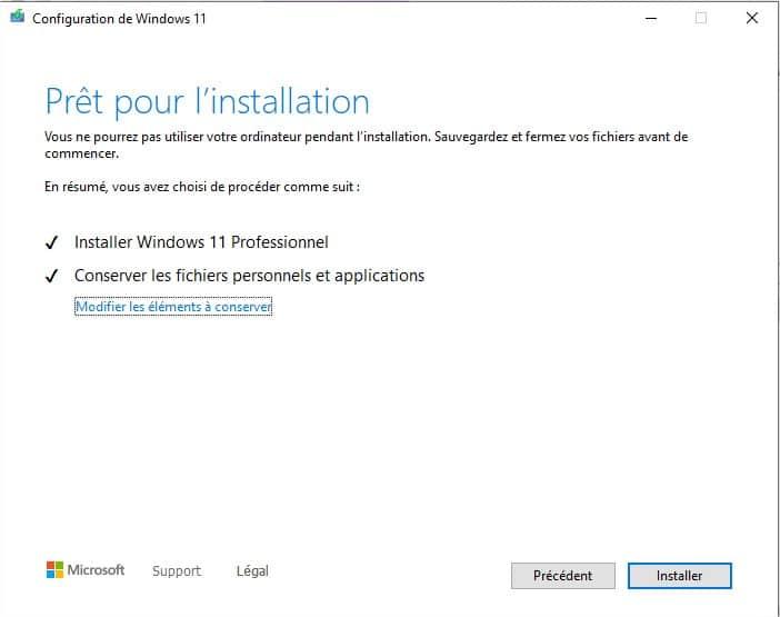 Windows 11 prêt à être installé
