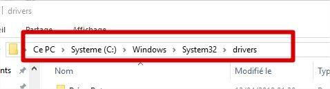 Dossier des pilotes Windows