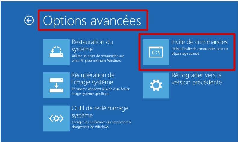 Menu de commande de réparation Windows