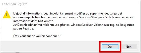 ajouter la clé de registre Windows