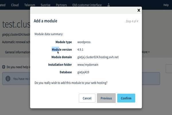 Vous y êtes: le module a été installé et vous pouvez trouver le lien d'administration dans votre boîte de réception.