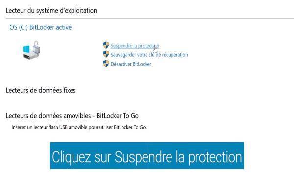 Cliquez sur Oui pour suspendre temporairement Bitlocker